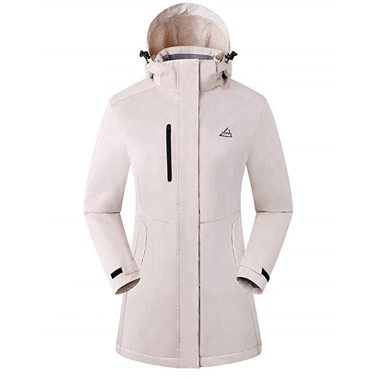 Waterproof Women's Softshell Jacket With Printed Bonded Fabr